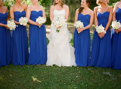 Southern-weddings-long-blue-bridesmaid-dresses